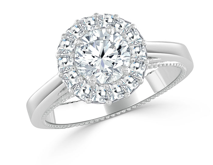 Bez Ambar round brilliant cut and blaze cut diamond ring in platinum.