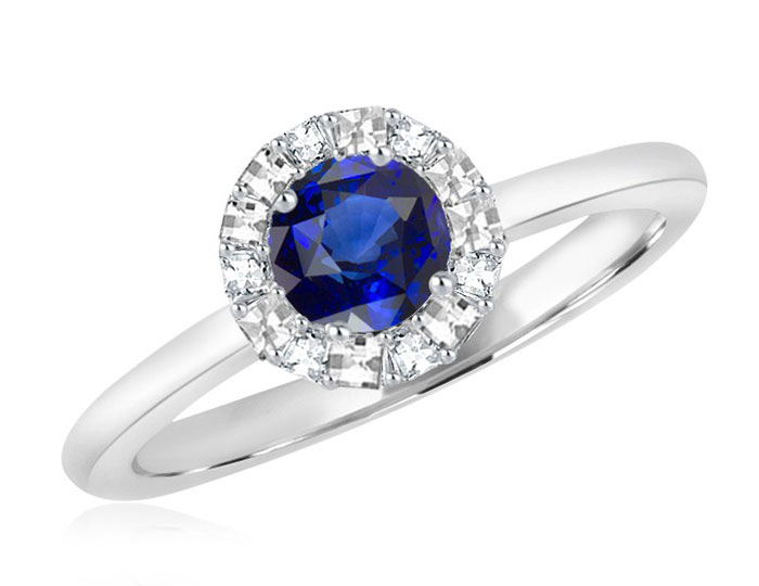 Bez Ambar round sapphire and blaze cut diamond ring in 18k white gold.