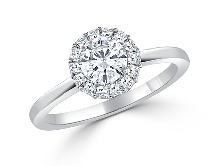 Bez Ambar round brilliant cut and blaze cut diamond engagement ring in 18k white gold.