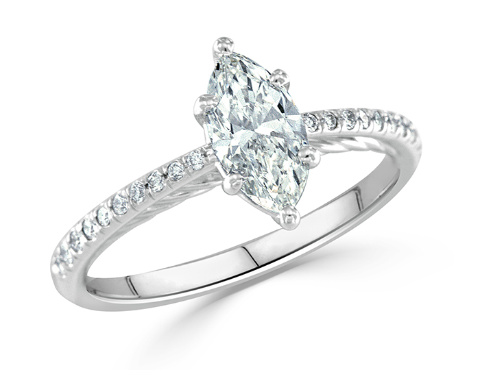 Marquise cut center diamond and round brilliant cut diamond engagement ring in 18k white gold.