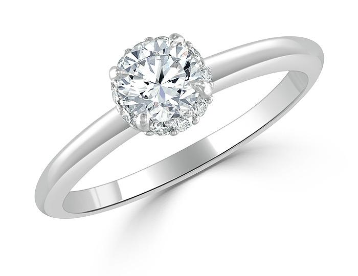 Bez Ambar round brilliant cut and blaze cut diamond engagement ring in 18k white gold.