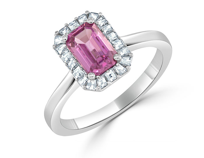 Bez Ambar pink sapphire and blaze cut diamond ring in 18k white gold.