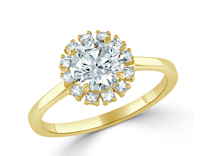 Round brilliant cut and blaze cut diamond engagement ring in 18k yellow gold.