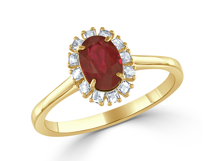 Oval cut ruby and blaze cut diamond ring in 18k yellow gold.