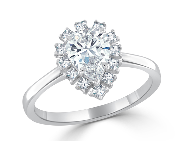 Pear cut and blaze cut diamond engagement ring in platinum.