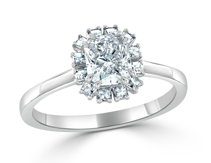 Radiant and blaze cut diamond engagement ring in platinum.