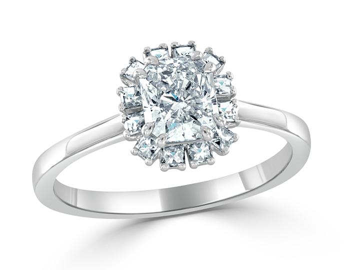 Radiant and blaze cut diamond engagement ring in platinum.