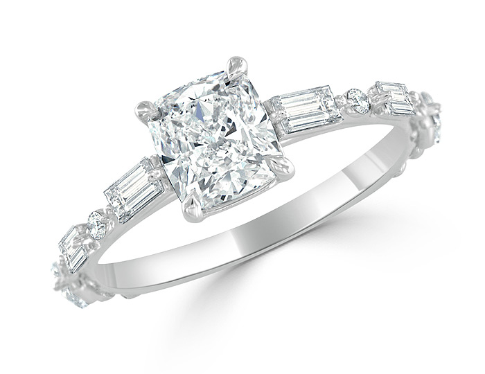 Bez Ambar cushion cut, round brilliant cut and baguette cut diamond engagement ring in platinum.