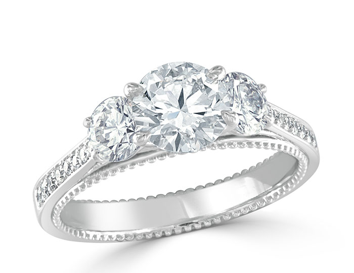 Ladies round brilliant cut diamond engagement ring in platinum.
