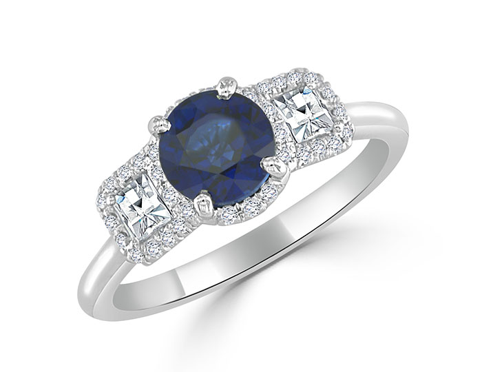 Bez Ambar round sapphire and blaze and round brilliant cut diamond ring in platinum.