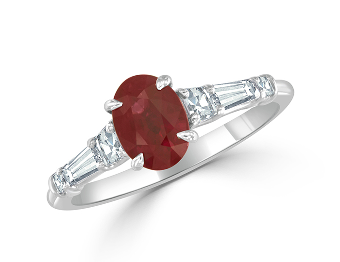 Bez Ambar oval ruby ring with blaze and baguette cut diamonds in 18k white gold.
