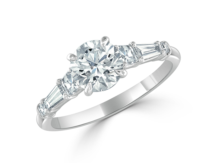 Bez Ambar round brilliant, blaze and baguette cut diamond engagement ring in platinum.