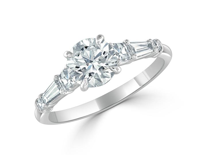 Bez Ambar round brilliant, blaze and baguette cut diamond engagement ring in platinum.