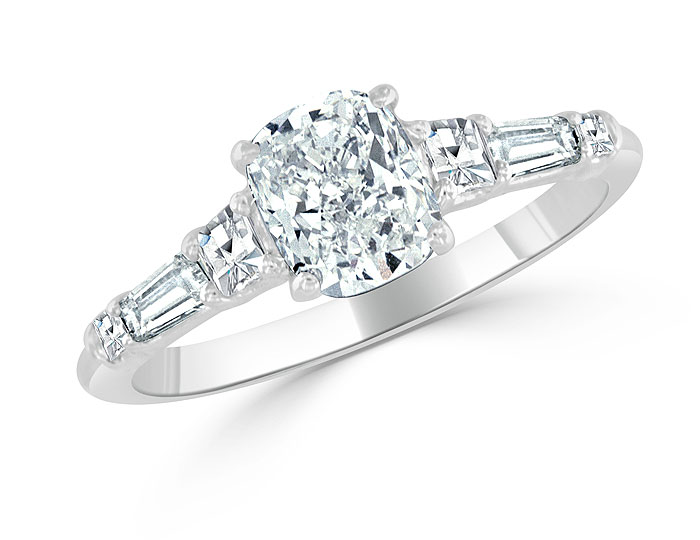 Bez Ambar cushion cut, blaze cut and baguette cut diamond engagement ring in platinum.