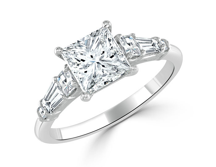 Bez Ambar princess, blaze, and baguette cut diamond engagement ring in platinum.
