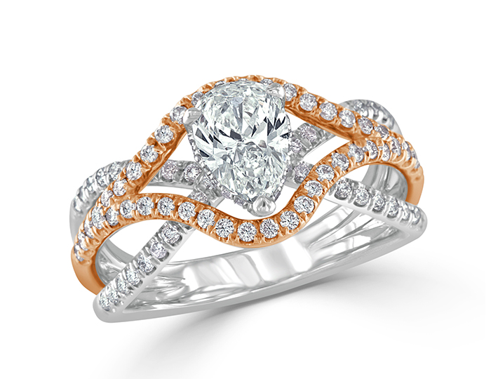 Pear shape and round brilliant cut diamond engagement ring in 18k rose and white gold.