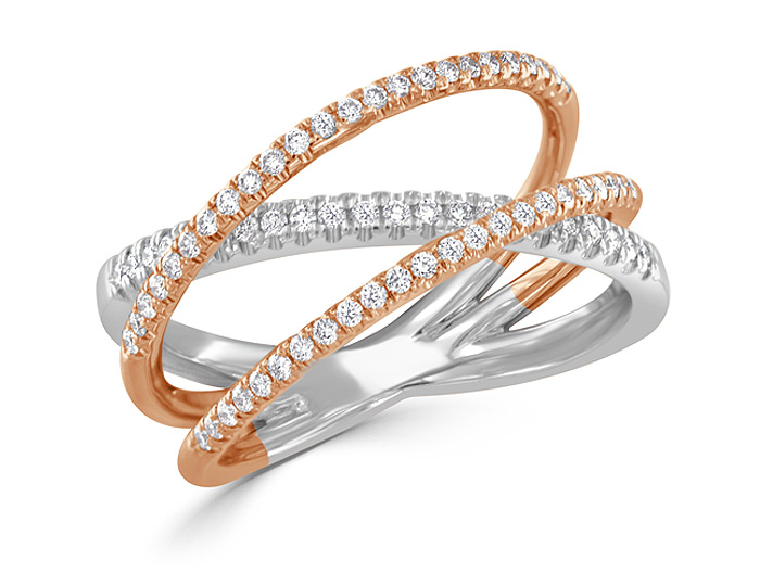 Bez Ambar round brilliant cut diamond ring in 18k white and rose gold.