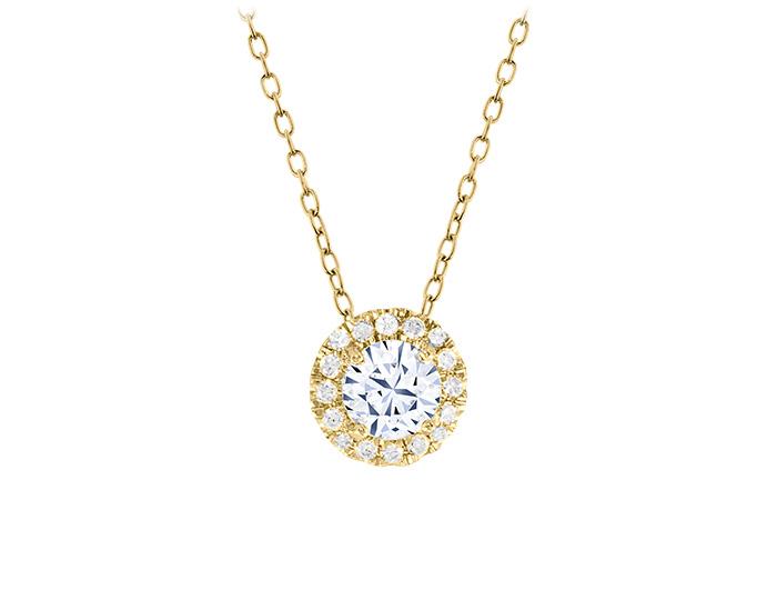 Round brilliant cut diamond pendant in 18k yellow gold.