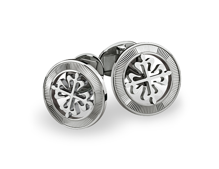 Patek Philippe Calatrava Cross cufflinks with guilloched outer ring in 18k white gold.