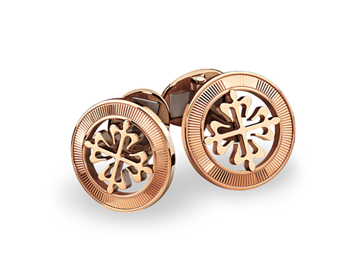 Patek Philippe Calatrava Cross cufflinks with guilloched outer ring in 18k rose gold.