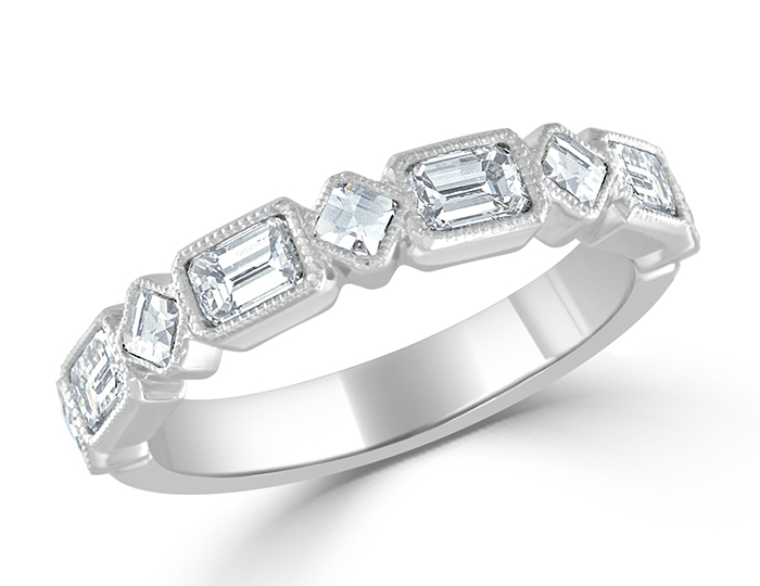 Blaze and emerald cut diamond band in platinum.