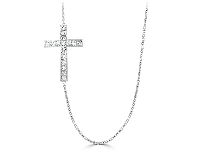 Round brillaint cut diamond cross necklace in 18k white gold.