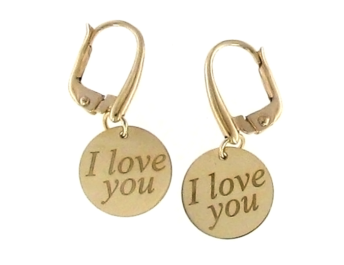"Roberto Coin ""I Love You"" earrings in 18k yellow gold."