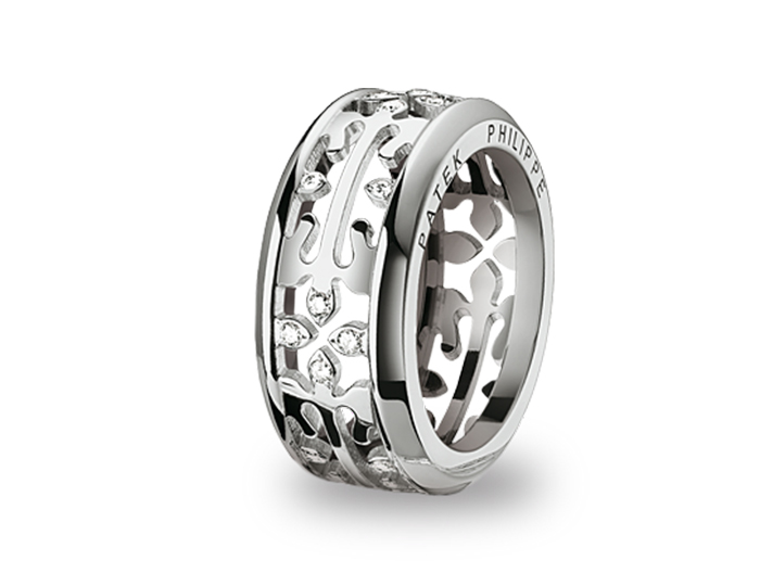Patek Philippe Calatrava Cross ring in 18k white gold with round brilliant cut diamonds.