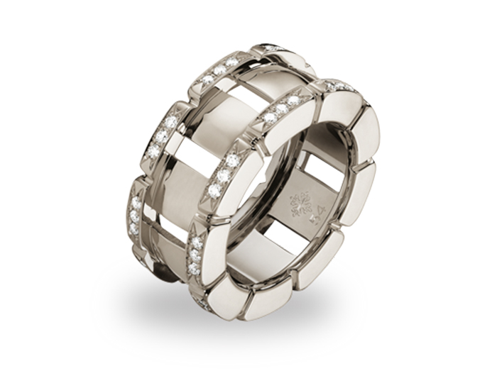 Patek Philippe Twenty~4 Collection ring in 18k white gold with round brilliant cut diamonds.