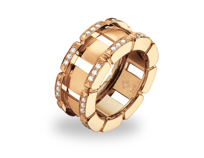Patek Philippe Twenty~4 Collection ring in 18k rose gold with round brilliant cut diamonds.