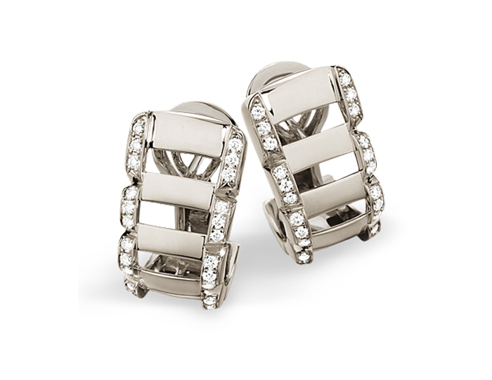 Patek Philippe Twenty~4 Collection earrings in 18k white gold with round brilliant cut diamonds.