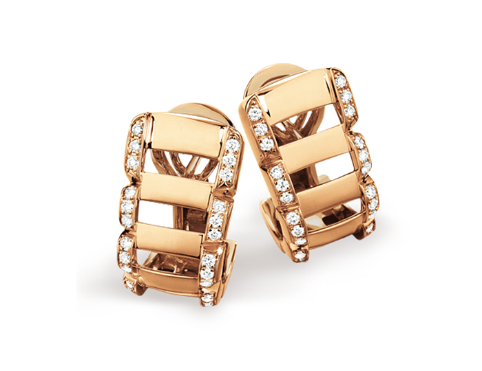 Patek Philippe Twenty~4 Collection earrings in 18k rose gold with round brilliant cut diamonds.