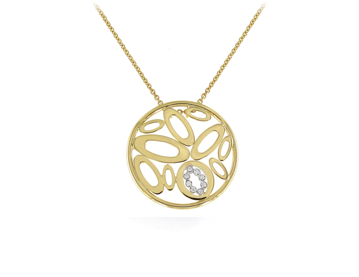 Roberto Coin Chic & Shine round brilliant diamond pendant in 18k yellow gold.