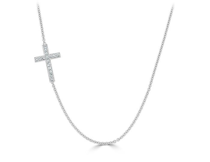Round brilliant cut diamond cross necklace in 18k white gold.