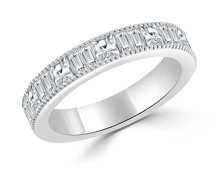Bez Ambar blaze cut and baguette cut diamond band in 18k white gold.