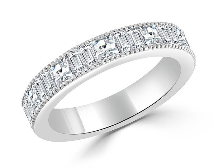 Bez Ambar blaze cut and baguette cut diamond band in 18k white gold.