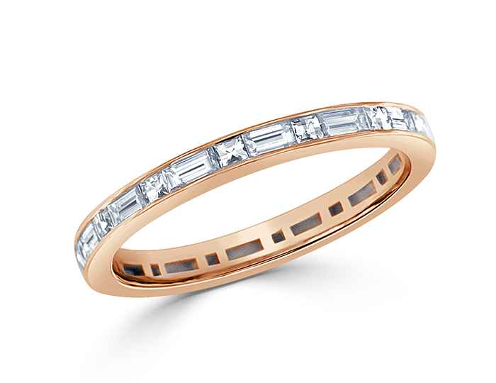 Blaze and baguette cut diamond band in 18k rose gold.