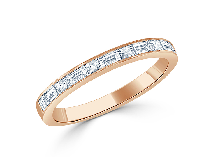 Blaze and baguette cut diamond ring in 18k rose gold.