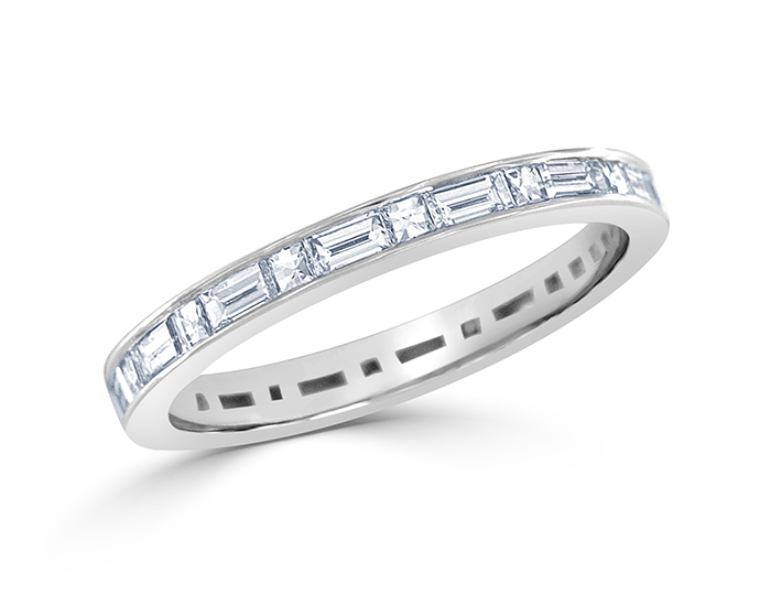 Blaze and baguette cut diamond band in platinum.