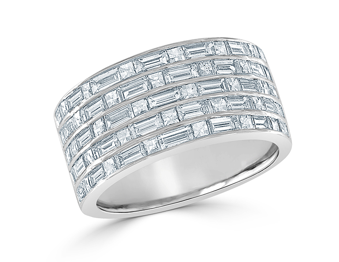 Blaze cut and baguette cut diamond band in platinum.