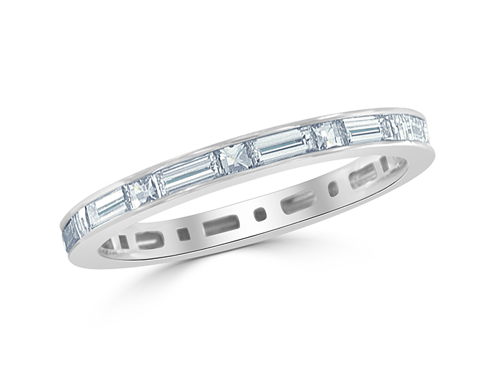 Blaze cut and baguette cut diamond band in 18k white gold.
