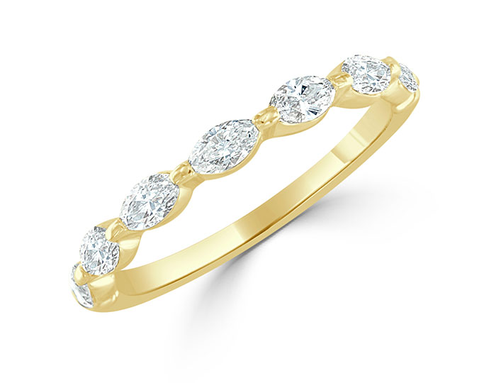 Marquise cut diamond band in 18k yellow gold.
