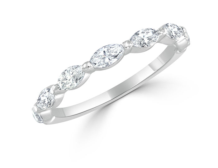 Bez Ambar marquise cut diamond band in 18k white gold.