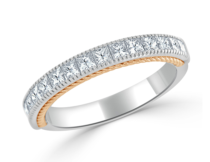 Princess cut diamond band in 18k white and rose gold.