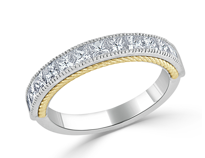Princess cut diamond band in 18k white and yellow gold.