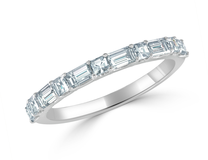 Baguette and blaze cut diamond band in 18k white gold.