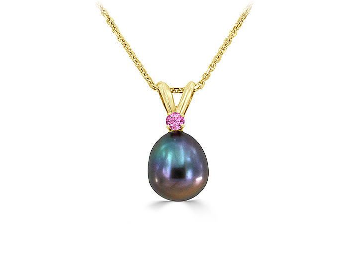 Tahitian pearl and pink sapphire pendant in 18k yellow gold.