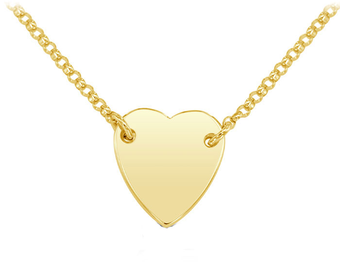 Heart necklace in 18k yellow gold.