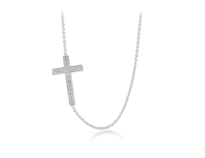 Round brilliant cut diamond cross necklace in 18k white gold.