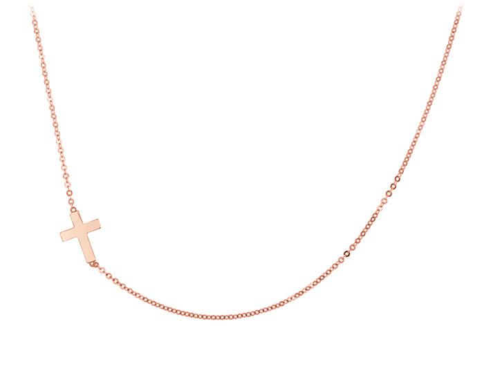 14k rose gold sideways cross necklace.